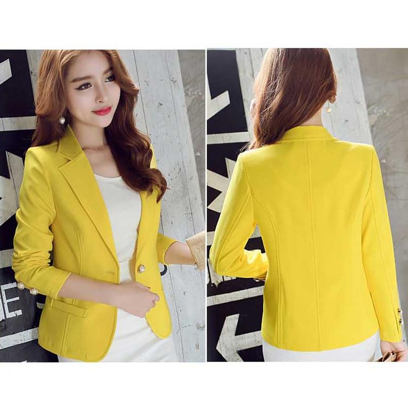 Ohryiyie Green/yellow Single Button Ladies Blazers Women 2019 Spring Autumn Women Suit Jackets Blazer Femme Office Tops Coats #5