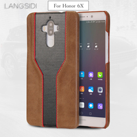 LANGSIDI mobile phone shell For Huawei Honor 6X mobile phone case advanced custom cowhide and diamond texture Leather Case