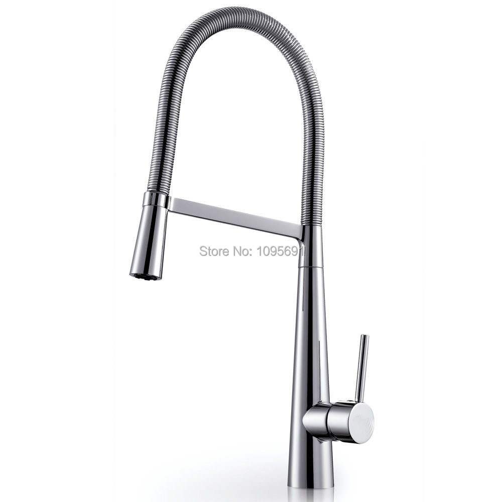 Brass Single Lever High Arc Pull Down Kitchen Faucet with
