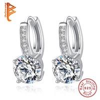 New Fashion Bijoux Vintage 100 925 Sterling Silver AAA Crystal Hoop Earrings For Women Wedding Love
