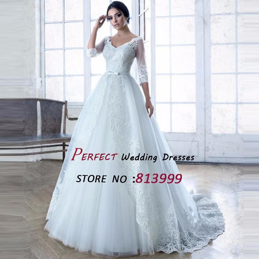 Romantic-Elegant-Tulle-Long-Sleeve-Lace-Wedding-Dresses-Turkey-vestidos-de-novia-robe-de-mariage-mariee