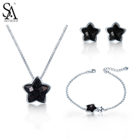 SA SILVERAGE 925 Sterling Silver Star Jewelry Sets for women Chain Bracelet Star earrings and Black Gemstone Bracelets