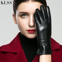 KLSS Brand Genuine Leather Women Gloves Autumn Winter Plus Velvet Fashion Elegant Goatskin Glove Lady Driving Glove 860