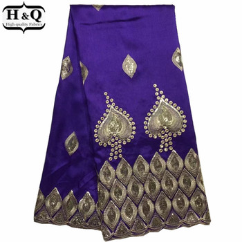 H&Q Purple George Wrapper Fabric With Sequins 5 Yards , Embroidery Indian Style George Lace Fabric With Best Price For Dress