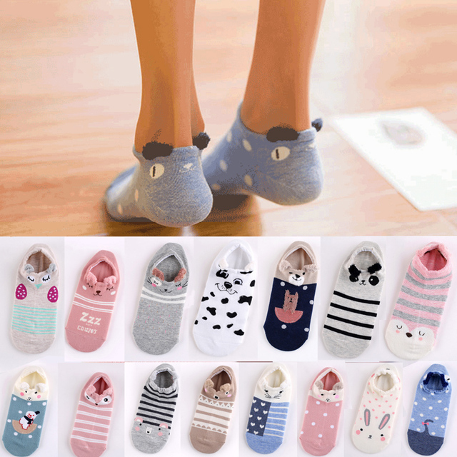 Fashion 1 Pair Cute Girls Socks 3D Ear Cartoon Animal Zoo Cotton Soft Sox Creative Kawaii Jumbo Socks