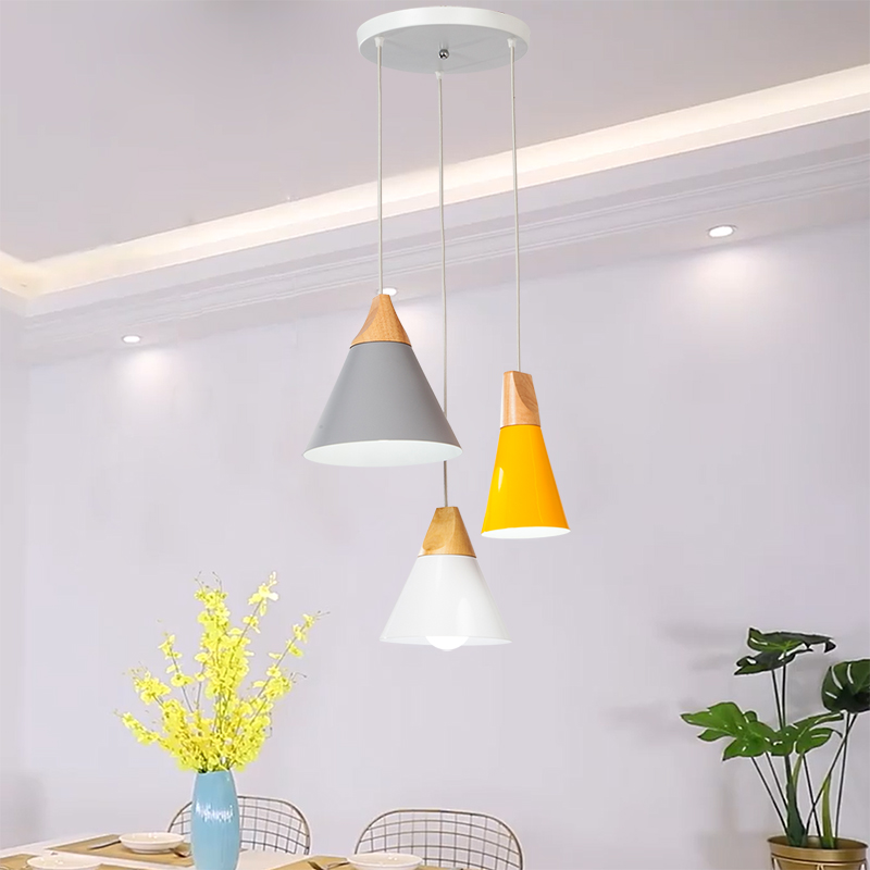 YGFEEL Modern Dining Room Pendant Light 3 Heads Round Rectangle Ceiling Plate Indoor Living Room