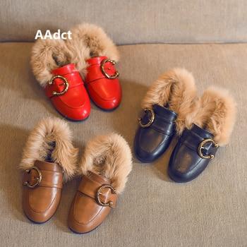 AAdct Cotton warm children flats shoes New princess girls shoes 2018 Winter soft kids boots