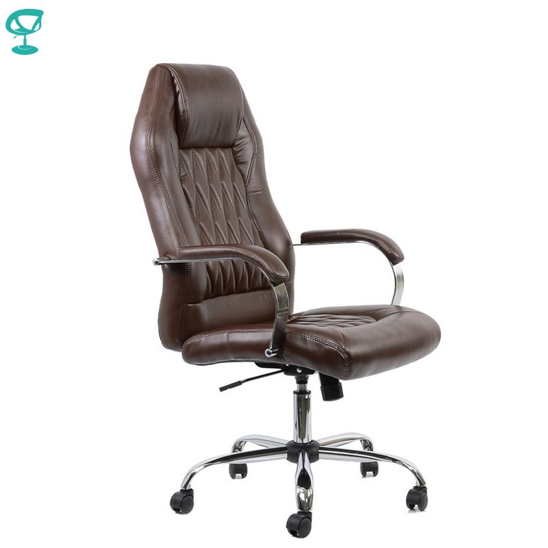 95157 Brown Office Chair Barneo K-69 Eco-leather High Back Chrome Armrests With Leather Straps Free Shipping In Russia