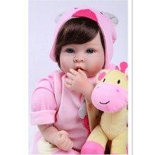 Silicona Realista Baby Doll Juguetes para Niñas Regalo de Cumpleaños de Los Bebés Reborn Bonecas, 20 Pulgadas Realista Renacida Muñeca Juguetes Educativos