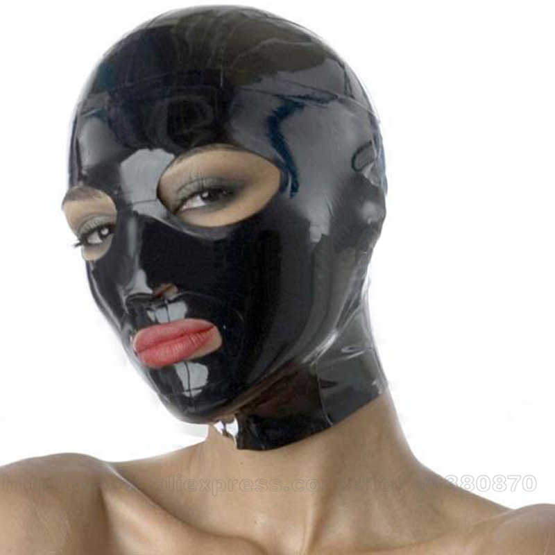 Solid Black Solid Real Sex Products Sexiga Kvinnor Latex Hoods Mask Monokrom Vanlig Huvud Kvinna LA048