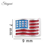 20pcs/lot New Arrival Alloy Silver Plated USA America Flag Charms for Floating Living Memory Glass Locket(China)