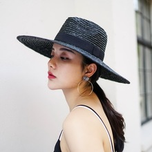 Muchique Sun Hat X Large Brim Wheat Straw Panama Fedora Hat Summer Straw Hats for Women Floppy hat with Ribbon Bow