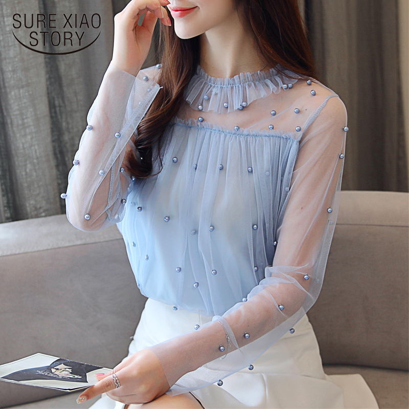 Lace Sexy Women   Blouses     Shirts   New 2018 Autumn Long Sleeve   Blouse   Bead Fashion Chiffon Elegant Tops Sweet Female Blusas 0863 30