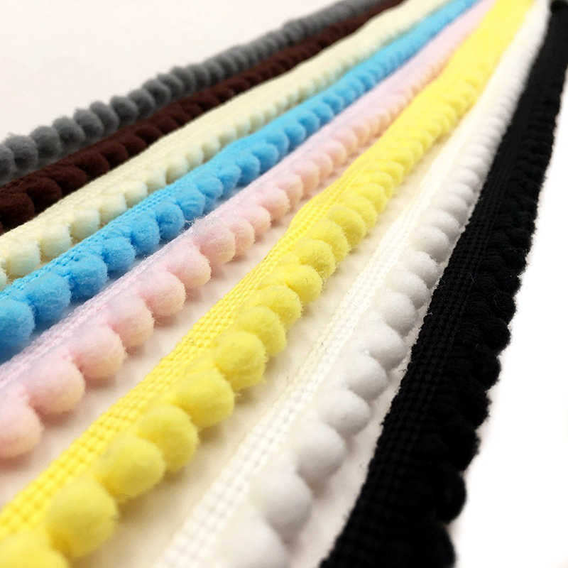 5 Yards Pom Pom Trim Ball 11 mm MINI Pearl Pompom Fringe Ribbon Sewing Lace Kintted Fabric Handmade Craft Accessories