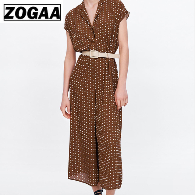 Polka Dot Off Shoulder Sexy Women Jumpsuit Deep V Collar Out High Waist Strap Wide Leg Pants Female 2019 ZOGAA