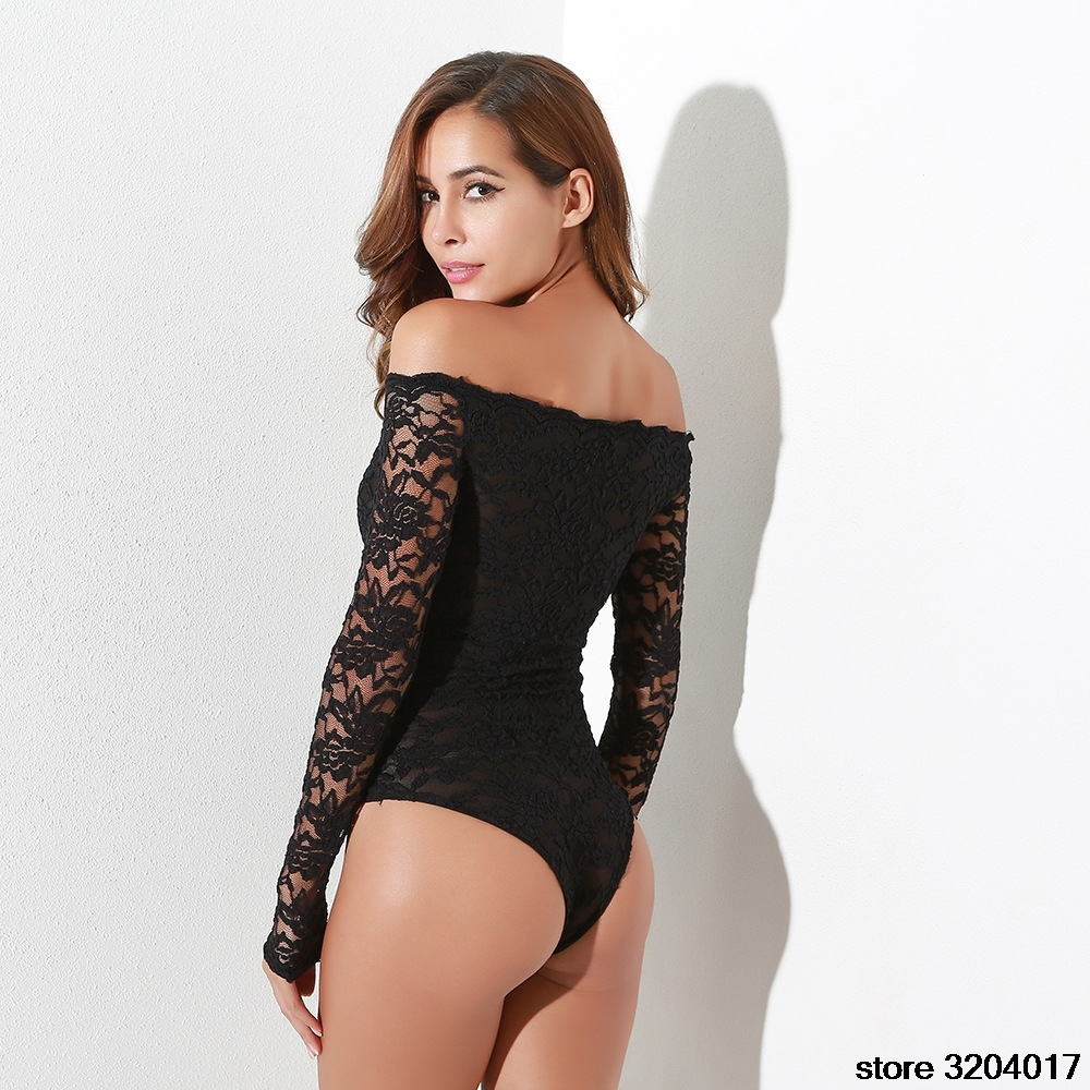 sexy lace Mesh bodysuit lingerie longsleeve black off the shoulder bodysuit floral negro manga larga leotard leotardo