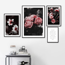 Peony Flower Plant Quotes Wall Art Canvas Painting Nordic Poster Prints Retro Pictures For Living Room Decor