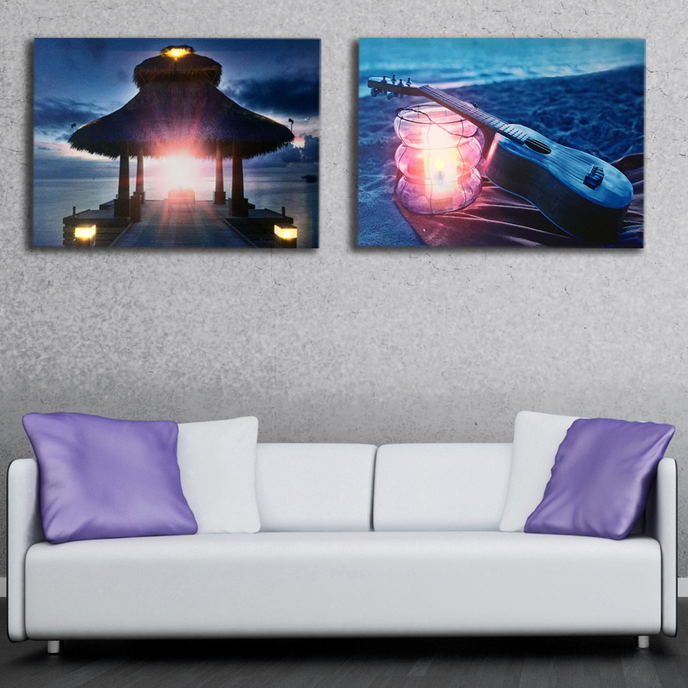 Led Canvas painting vivid sunrise over the jetty Ukulele with lantern on beach picture wall art decor poster and print light up
