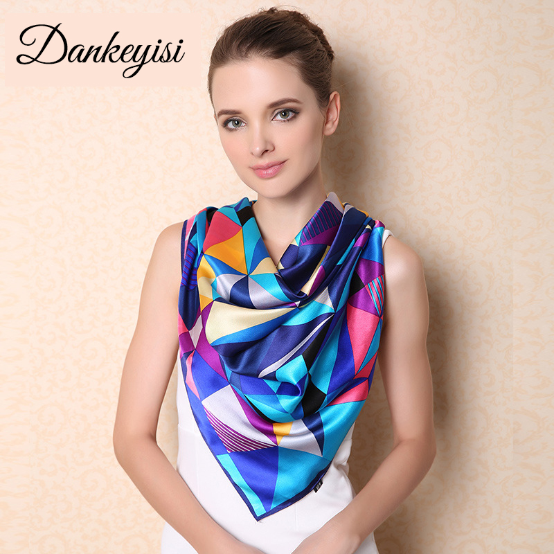 DANKEYISI Large Square Scarf Shawl Women Autumn Winter High-grade 100% Genuine Silk Scarf Big Size 110*110cm Silk Scarves Shawls