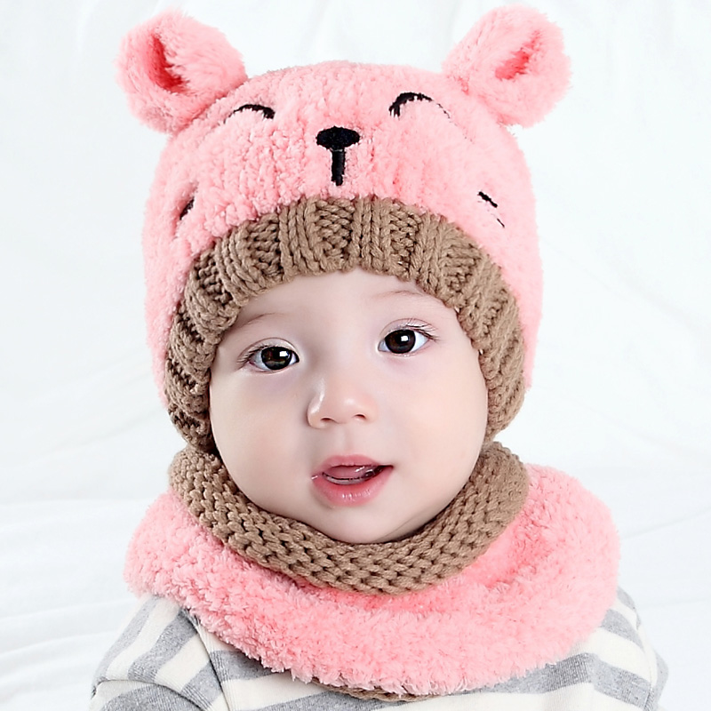 2017 brand 2 pieces / set of girls shoes boy hat scarf kit cute cat children's children   skullies     beanies   Winter warm knit hats