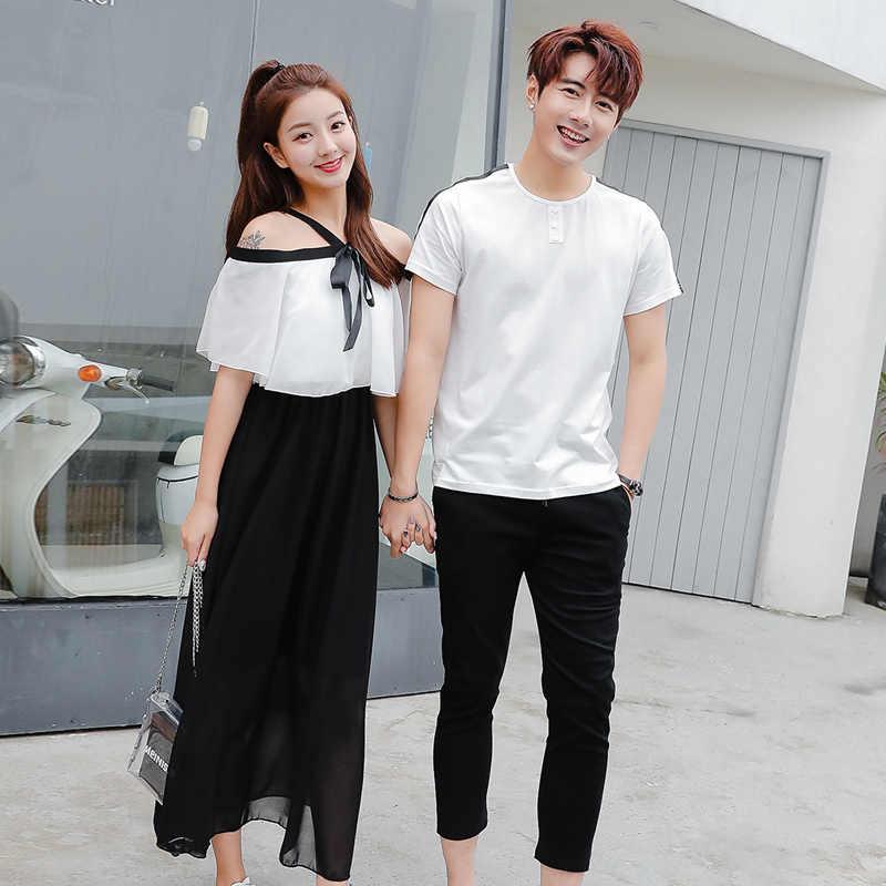 5a45562e7d ... Lovers Couple Clothes Matching Boyfriends Girlfriends Women Men  Honeymoon Valentine's Gift Open Off Shoulder Dress ...