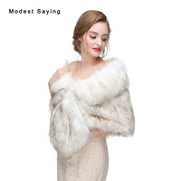 New Arrival Winter Faux Fur Wedding Shawls 2017 Fashion Imitation Fox Fur Bridal Shrugs Wraps Warm Jackets Wedding Accessories