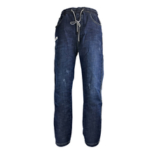 Fashion Women Jeans Regular Casual Pants Ankle-length Ripped Lace Up Denim Boyfriend for Blue