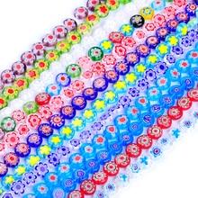 37pcs/string 10mm colors mixed round shape flower strand lampwork glazed glass beads DIY jewelry making bracelet necklace