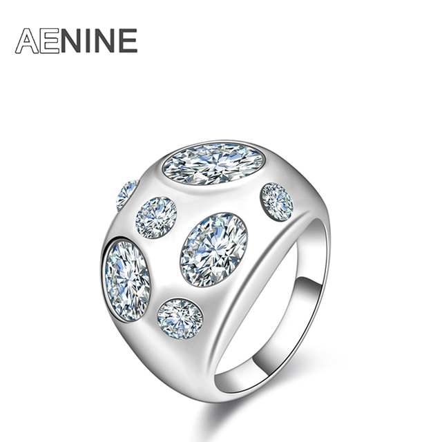 AENINE Brand Classic Rings Micro Clear Cubic Zirconia Oval Shape Ring Silver Col