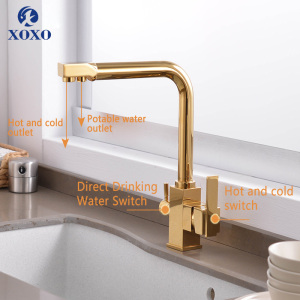 Image 5 - XOXO Filter Kitchen Faucet Drinking Water Single Hole Black Hot cold Pure Water Sinks Deck Mounted Mixer Tap For Kitchen 81018