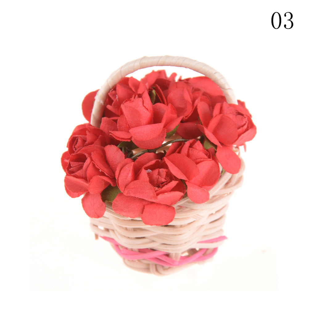 Miniature Lily Home Decoration Flower Plant Basket For Dollhouse