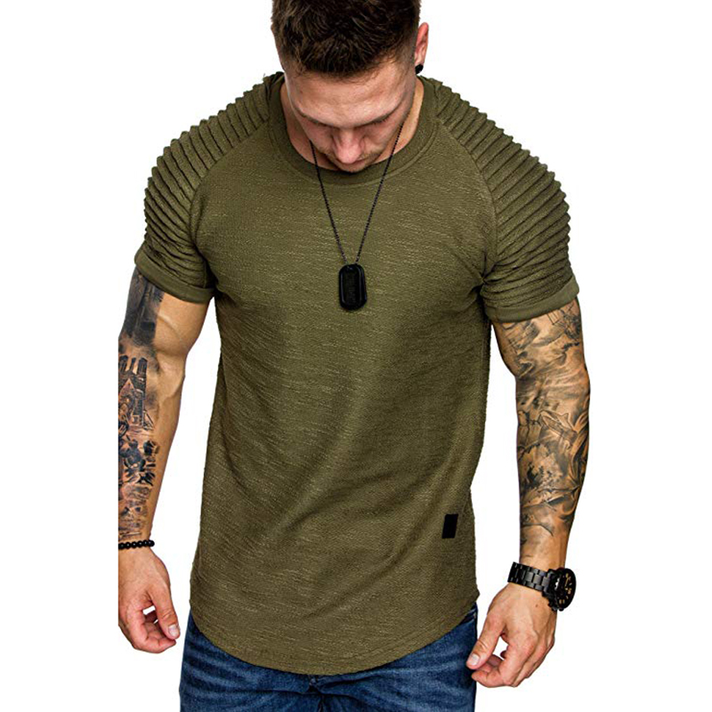 2019 spring new shoulder pleat design mens casual short-sleeved T-shirt summer short sleeve