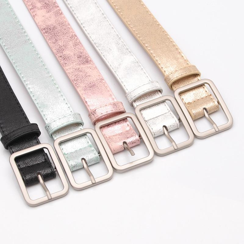Korea Style Women's Metallic   Belt   Brand Women Leather   Belt   Pu   Belts