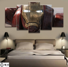 Hot Sales Without Frame 5 Panels Picture Iron Man Marvel Film Canvas Print Painting Artwork Wall Art Wholesale