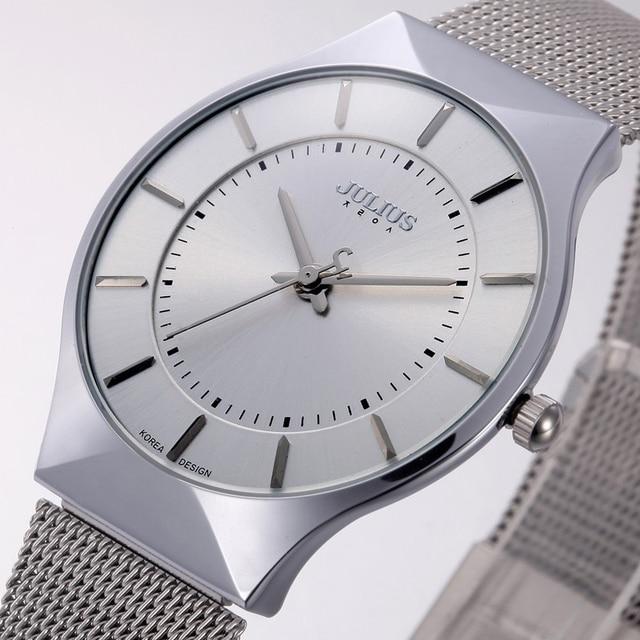 aadcf92ff كبار الأزياء الكلاسيكية ماركة يوليوس ساعات رجالية كوارتز الرياضة ووتش  watchcase رقيقة جدا المقاوم للصدأ شبكة