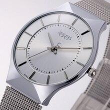 Top Fashion Classic Marca Julius Relojes de Los Hombres Del Deporte Del Cuarzo Del Reloj Caja de Reloj Ultra Delgado Cinturón de Malla de Acero Inoxidable Relogio masculino