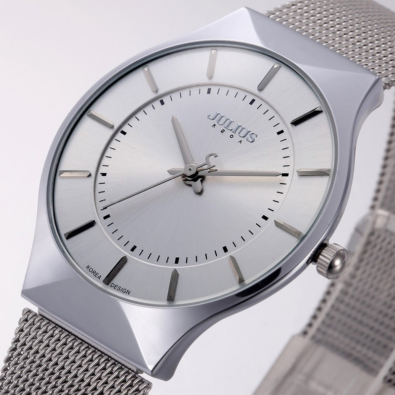 Top Fashion Classic Brand Julius Watches <font><b>Men</b></font> Quartz Sport Watch Watchcase Ultra Thin Stainless Steel Mesh Belt Relogio Masculino