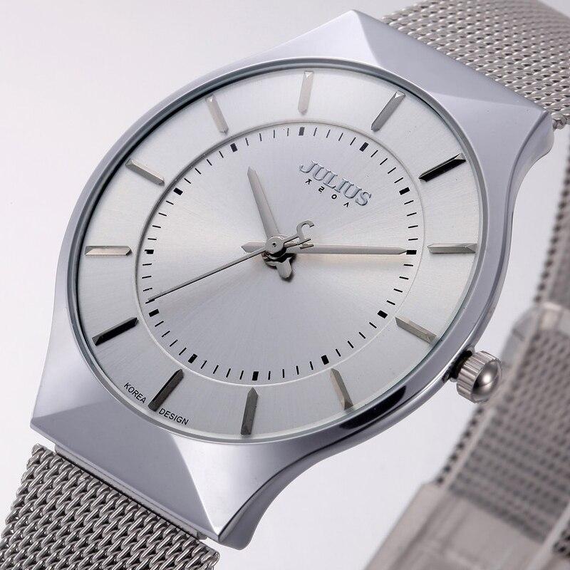 Top Fashion Klassische Marke Julius Uhren Männer Quarz Sportuhr Uhrengehäuse Ultra Thin Edelstahlgewebe Gürtel Relogio Masculino