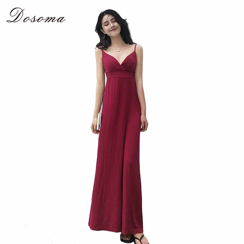 DOSOMA Suspender Tunic Dress Female Floor Length High Waist Summer Dresses For Women Sexy Sleeveless Off Shoulder Fashion Clothe