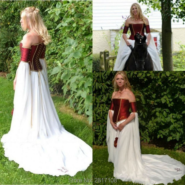 renacimiento medieval 2017 vestidos de novia de borgoña sin tirantes