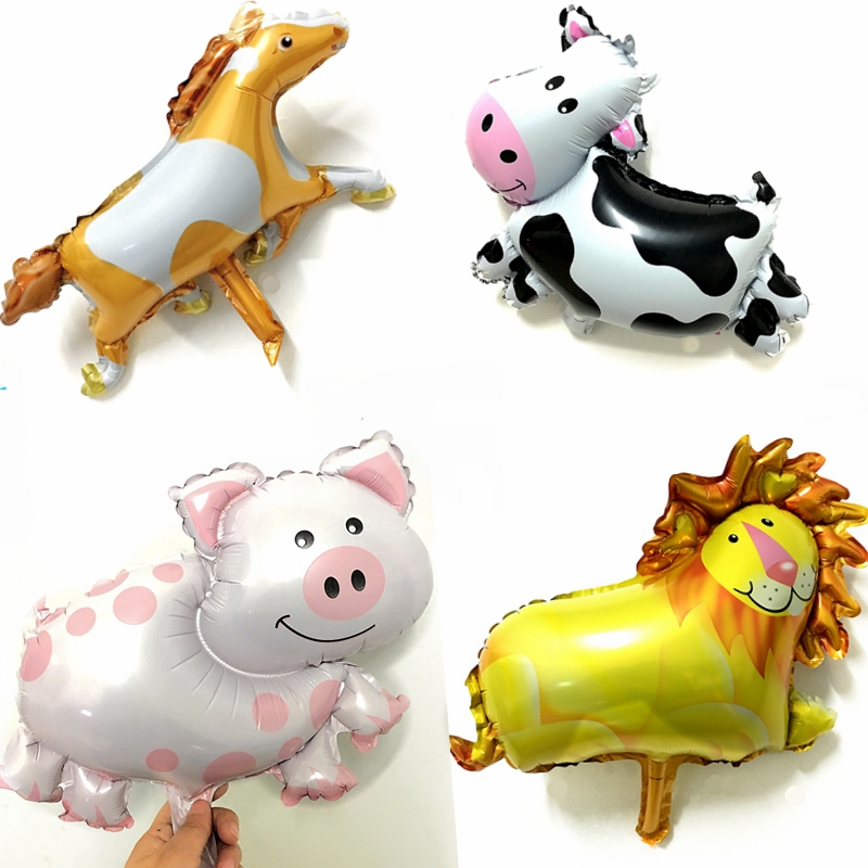 20Pcs Cartoon Animal Dairy Horse Lion Pig Foil Balloons kids Birthday Party wedding decoration Baby Shower Toys gifts Supplies