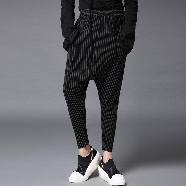 2017 весной новые мужчины гарем брюки мода хип-хоп полосой крест брюки мужчины с низким промежность эластичный пояс брюки мужские повседневные брюки Q643