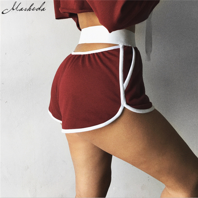 Macheda 2018 New Fashion Summer Street Women Elastic Waist Short Legging Pants Women All-match Loose Solid Soft Cotton Casual