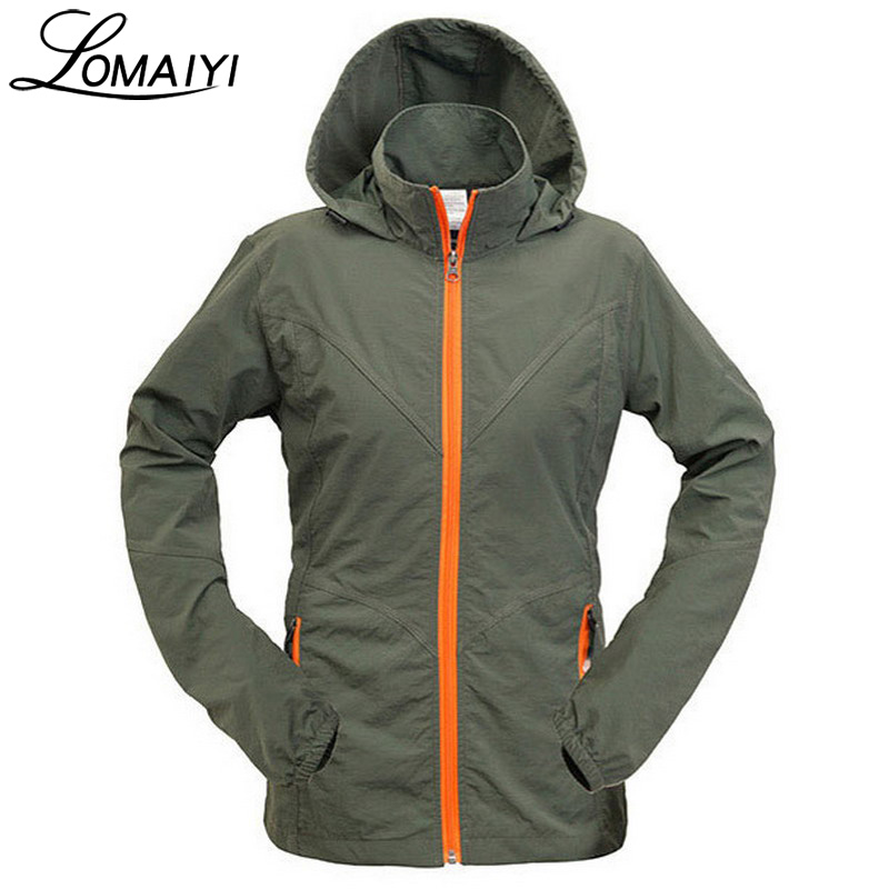 LOMAIYI Anti-Uv Women   Basic     Jacket   Female Coat 2017 Summer Women's Khaki Thin Windbreaker Casual Ladies   Jackets   Hooded,AW072
