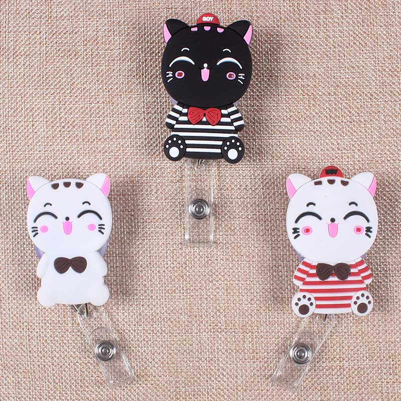 Rubber Cats Retractable The Badge Holder Reel Black White Cat Exhibition Enfermera Students Name Card Hospital Office Chest Card
