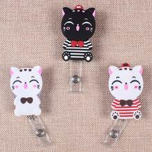 Rubber Cats Retractable The Badge Holder Reel Black White Cat Exhibition Enfermera Students Name Card Hospital Office Chest