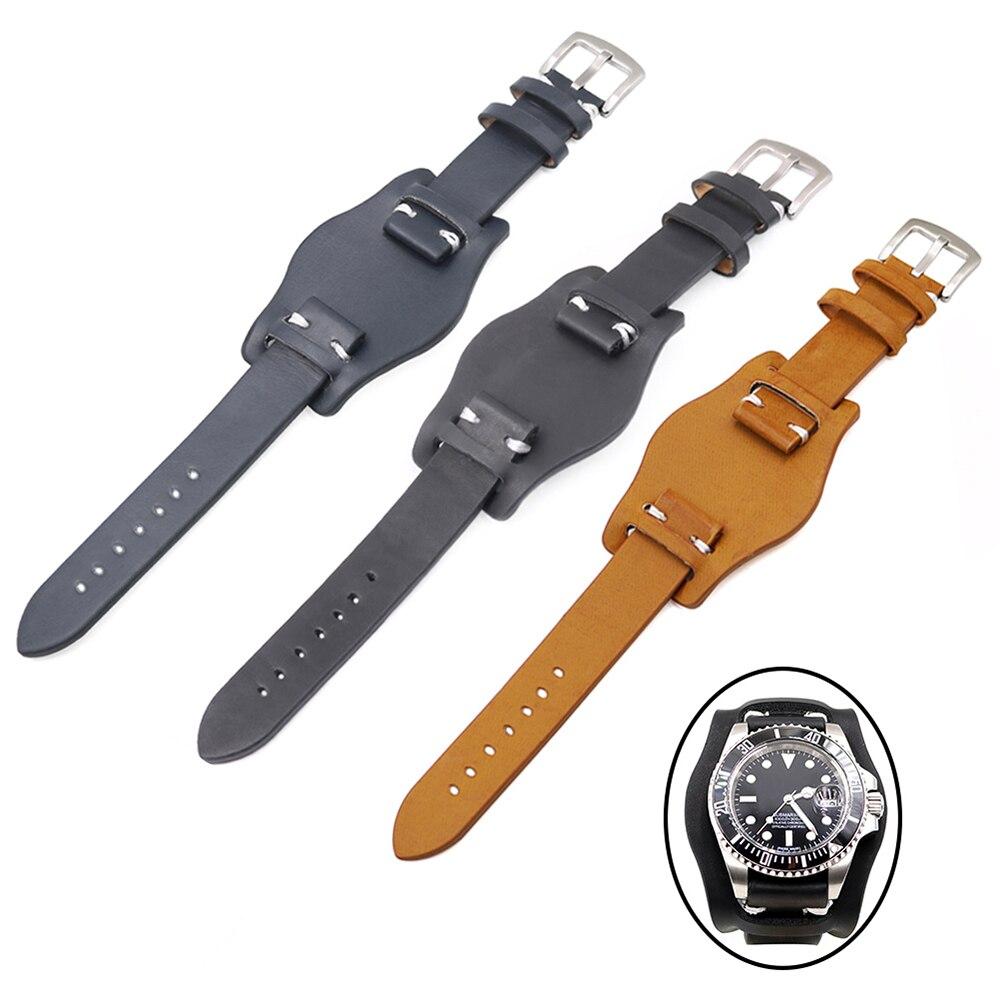 CARLYWET 20mm Black Brown Dark blue Leather Pad Wrist Watch Band Strap For Rolex RDAYTONA SUBMARINER OYSTER GMT DATEJUST Seiko bracelet rolex submariner