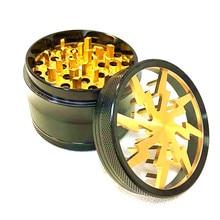 4 Levels 2.5 Aluminum Lightning Pattern Clear Top Herb Grinder (gold) Tobacco Spice Crusher Miller
