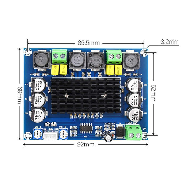 DC 12 V 24 V 120 W * 2 TPA3116D2 TPA3116 двухканальный цифровой усилитель звука класса D C3-002