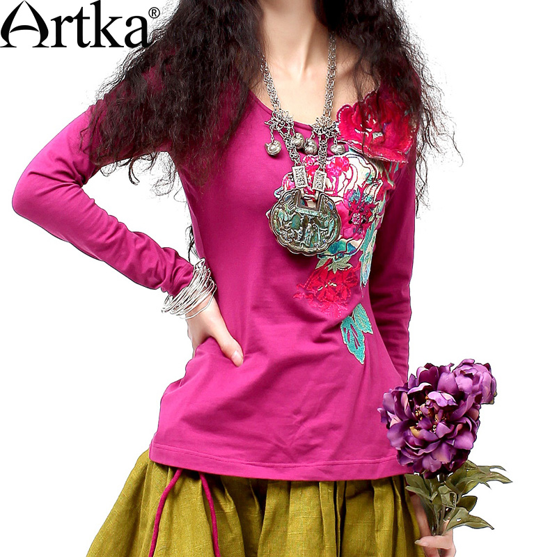 ARTKA 2018 Autumn Hot Cotton Three Dimensional Applique Embroidered Long Sleeve Skin Friendly Cotton T Shirt